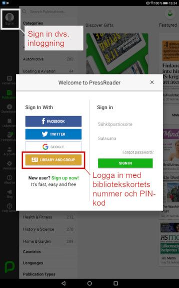 Skärmdump PressReader app 1